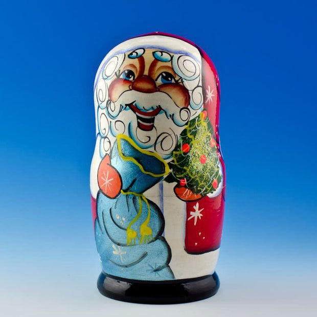 Set of 5 Cheerful Santa Claus Wooden Russian Nesting Dolls 7 Inches