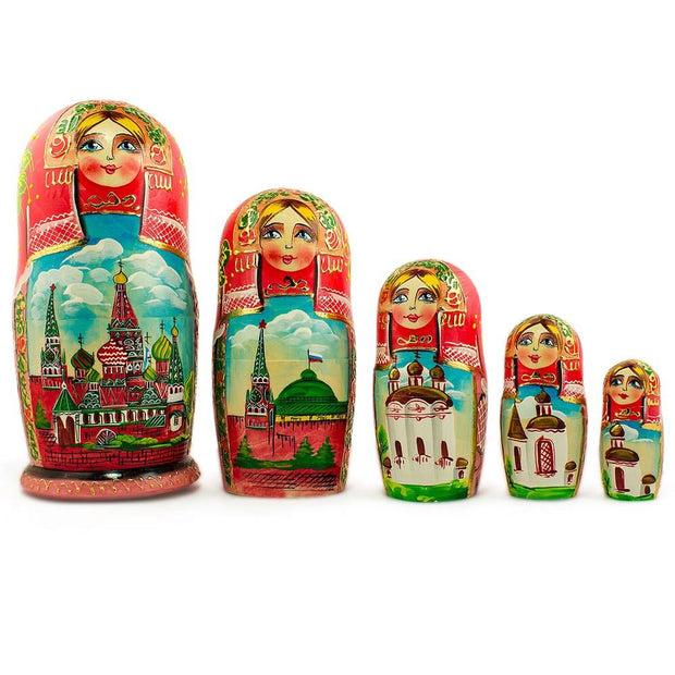 Set of 5 Moscow Kremlin Nesting Dolls Matryoshka 7 Inches by BestPysanky