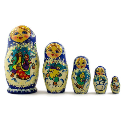 BestPysanky Nesting Dolls > Christmas - 5 pcs/ 5.5'' Winter in the Village Russian Nesting Dolls