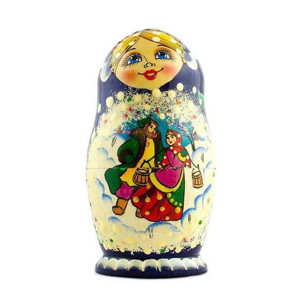5 pcs Winter in the Village Russian Nesting Dolls 5.5 Inches