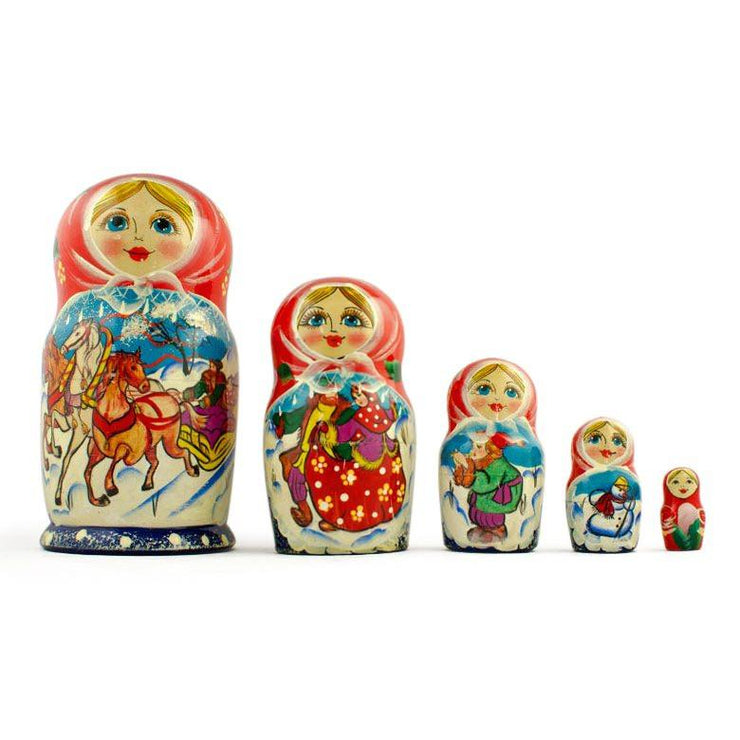 Set of 5 Running Horses Trio Wooden Russian Nesting Dolls Matryoshka 7 Inches by BestPysanky