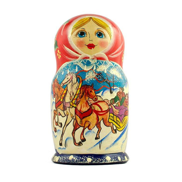Set of 5 Running Horses Trio Wooden Russian Nesting Dolls Matryoshka 7 Inches