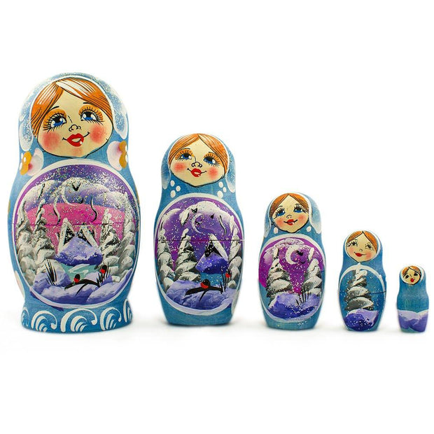 Set of 5 Winter Village Landscape Wooden Russian Nesting Dolls 5.5 Inches by BestPysanky