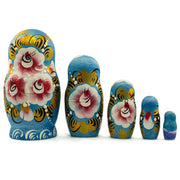 "BestPysanky Nesting Dolls > Christmas - 5.5"" Set of 5 Winter Village Landscape Wooden Russian Nesting Dolls"