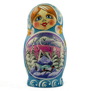 Buy Online Gift Shop Set of 5 Winter Village Landscape Wooden Russian Nesting Dolls 5.5 Inches