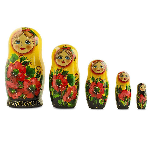 6.5'' Set of 5 Yellow Scarf Poppy Flowers Matryoshka Russian Nesting Dolls | BestPysanky