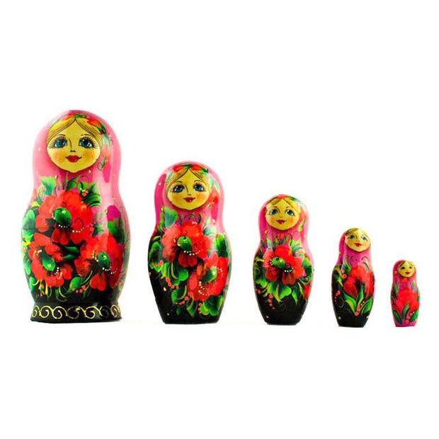 Set of 5 Pink Scarf with Poppy Flowers Matryoshka Russian Nesting Dolls 7 Inches by BestPysanky