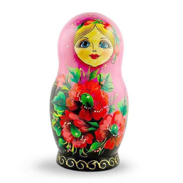 Set of 5 Pink Scarf with Poppy Flowers Matryoshka Russian Nesting Dolls 7 Inches
