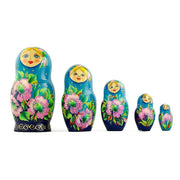 "BestPysanky  - 7"" Set of 5 Turquoise Scarf with Poppy Flowers Matryoshka Russian Nesting Dolls"