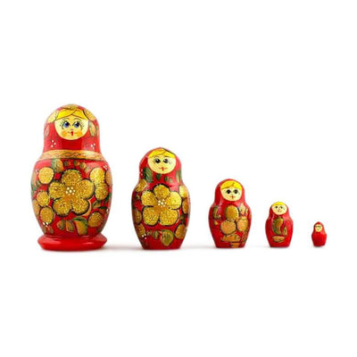 5 Golden Flowers on Red Dress Wooden Russian Nesting Dolls Matryoshka 3.5 Inches by BestPysanky