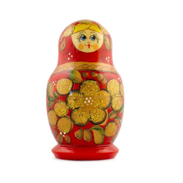 "BestPysanky Nesting Dolls > Floral - 3.5"" Set of 5 Golden Flowers on Red Dress Wooden Russian Nesting Dolls Matryoshka"