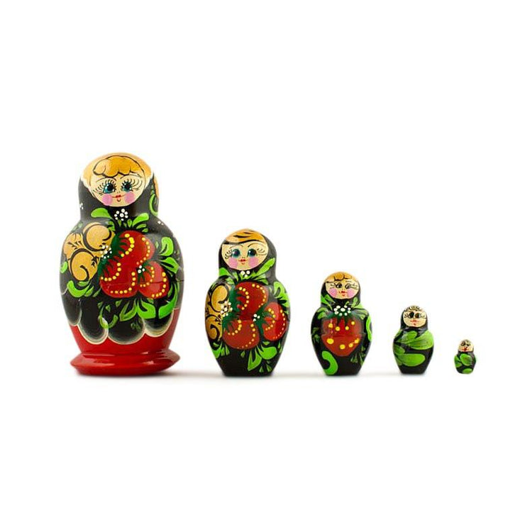 Set of 5 Russian Wooden Nesting Dolls Matryoshka 3.5 Inches by BestPysanky
