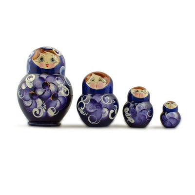 Set of 4 Blue Dress Mini Wooden Russian Nesting Dolls Matryoshka 3 Inches by BestPysanky