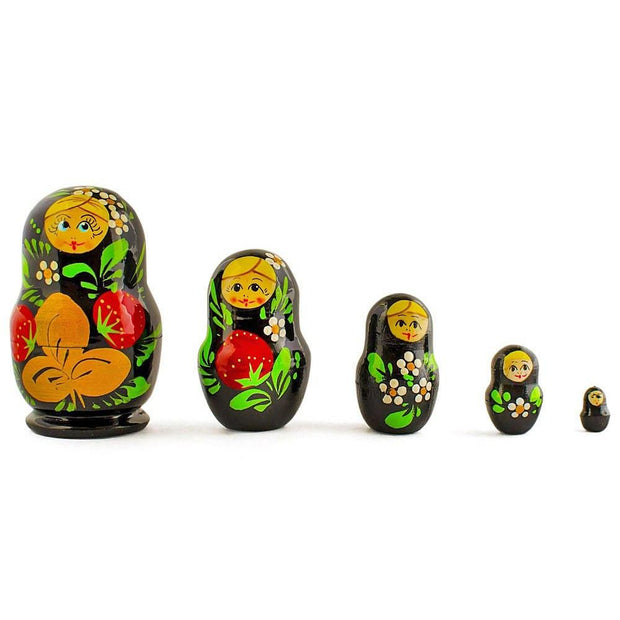 Set of 5 Strawberries Russian Nesting Dolls 3.5 Inches by BestPysanky