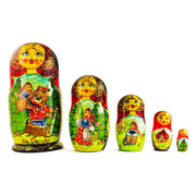 Set of 5 Red Riding Hood Wooden Nesting Dolls Matryoshka 6.5 Inches by BestPysanky