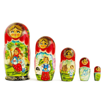 Set of 5 Gusi-Lebedi Nesting Dolls Matryoshka 7 Inches by BestPysanky