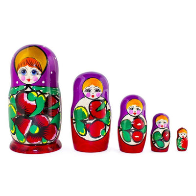 Set of 5 Maydanovskaya in Purple Scarf Russian Nesting Dolls Matryoshka 6 Inches by BestPysanky