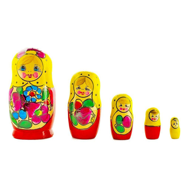 Set of 5 Maydanovskaya in Yellow Scarf Russian Nesting Dolls Matryoshka 6 Inches by BestPysanky