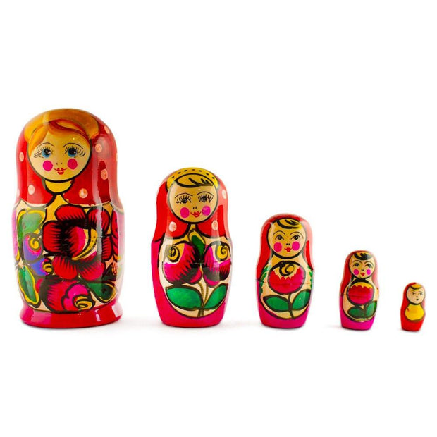 Set of 5 Maydanovskaya in Pink Scarf Russian Nesting Dolls Matryoshka 6 Inches by BestPysanky