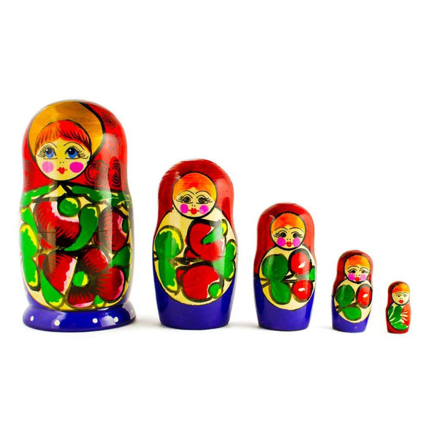 Set of 5 Maydanovskaya in Red Scarf Russian Nesting Dolls Matryoshka 6 Inches by BestPysanky