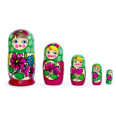 Set of 5 Maydanovskaya in Green Scarf Russian Nesting Dolls Matryoshka 6 Inches by BestPysanky