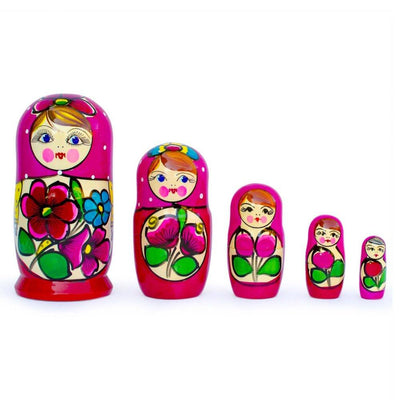 Set of 5 Maydanovskaya in Amaranth Scarf Russian Nesting Dolls 6 Inches by BestPysanky