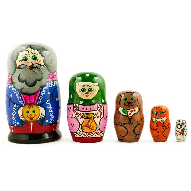 Kolobok, Babushka and Dedushka Fairy Tale Russian Nesting Dolls 7 Inches by BestPysanky