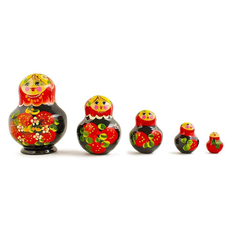 Set of 5 Elena Red Dress Wooden Russian Nesting Dolls 4.75 Inches by BestPysanky