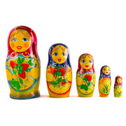 Set of 5 Summer Strawberry Girl Nesting Doll Matryoshka 6.5 Inches by BestPysanky