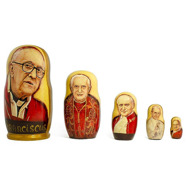5 pcs Roman Pope Francis Wooden Nesting Dolls 6 Inches by BestPysanky