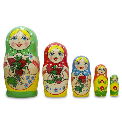 "6.75"" Set of 5 Strawberry Green Dress Matryoshka Russian Nesting Dolls 