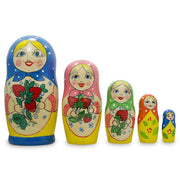 "6.75"" Set of 5 Strawberry Blue Dress Matryoshka Russian Nesting Dolls 