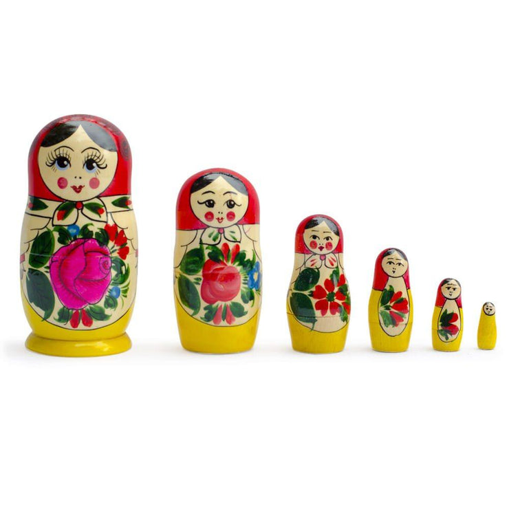 Set of 6 Traditional Semenov Matryoshka Wooden Russian Nesting Dolls 5.5 Inches by BestPysanky
