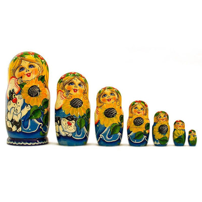 Set of 7 Girls with Cat in Blue Dress Russian Nesting Dolls 8.5 Inches by BestPysanky