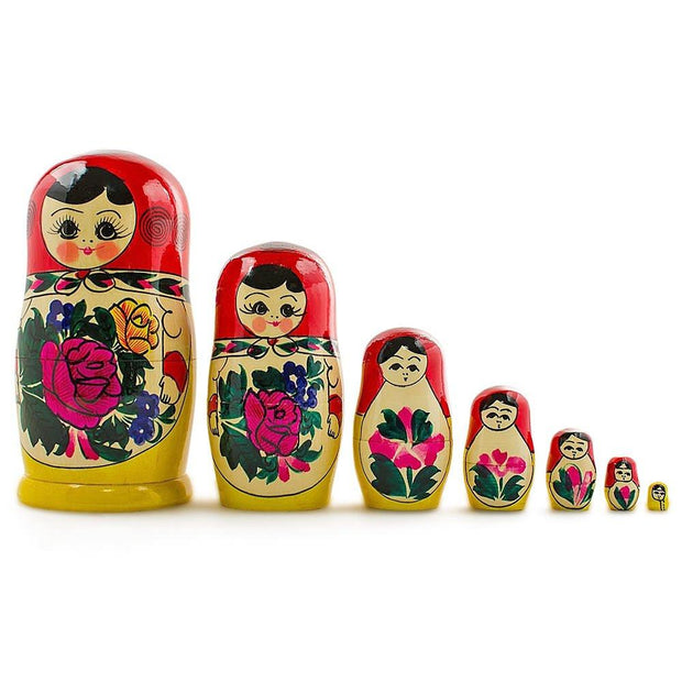 "BestPysanky Nesting Dolls > Traditional - 7"" Set of 7 Semenov Traditional Hand Painted Wooden Matryoshka Russian Nesting Dolls"