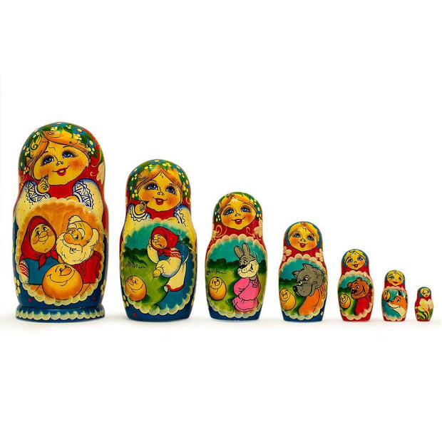 Set of 7 Kolobok Russian Fairy Tale Wooden Nesting Dolls 8.5 Inches by BestPysanky