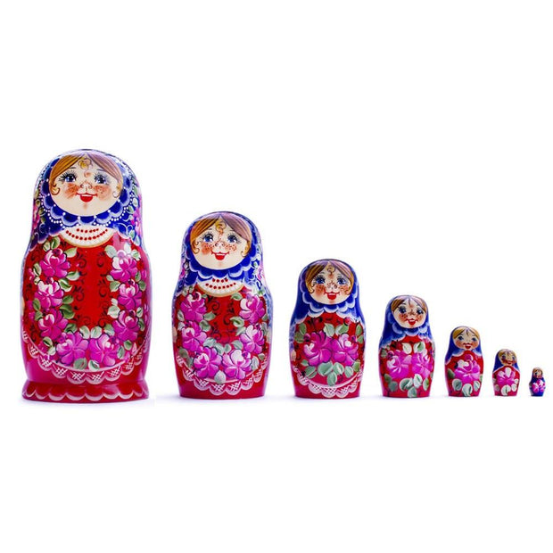 Set of 7 Blue Scarf Red Dress Matryoshka Russian Nesting Dolls 8.5 Inches by BestPysanky