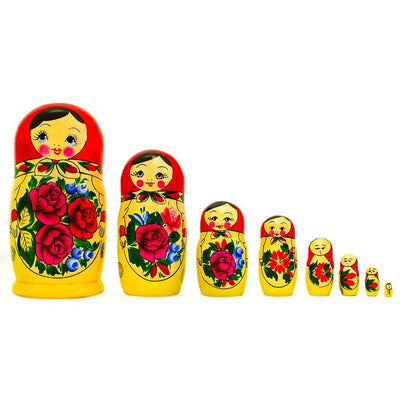 Set of 8 Semyonov Classic Wooden Matryoshka Russian Nesting Dolls 8.5 Inches by BestPysanky