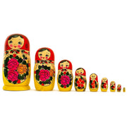 Set of 9 Traditional Semenov Wooden Russian Nesting Dolls 10 Inches by BestPysanky