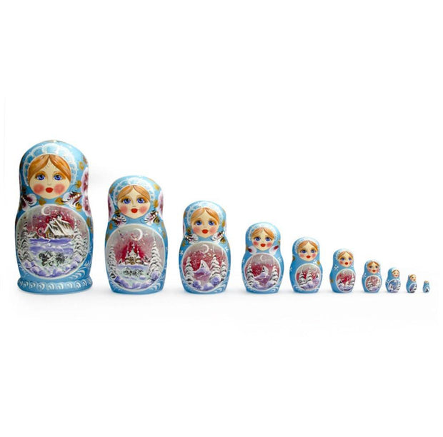 Set of 10 Blizzard Blue Zina Russian Matryoshka Wooden Nesting Dolls 11 Inches by BestPysanky