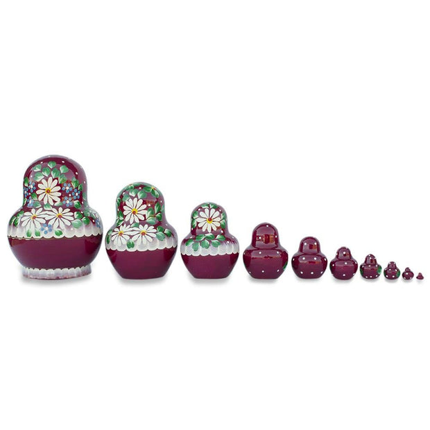 "BestPysanky Nesting Dolls > Floral - 5.5"" Set of 10 Daisy Flowers on Red Dress Russian Nesting Dolls"