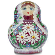 Buy Online Gift Shop Set of 10 Daisy Flowers on Red Dress Russian Nesting Dolls 5.5 Inches
