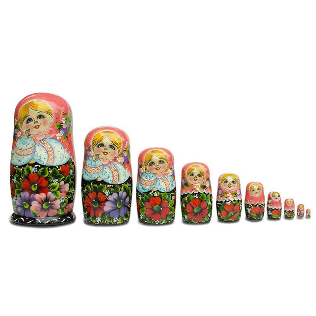 10 Girl in Pink Scarf and Embroidered Blouse Russian Nesting Dolls 11 Inches by BestPysanky