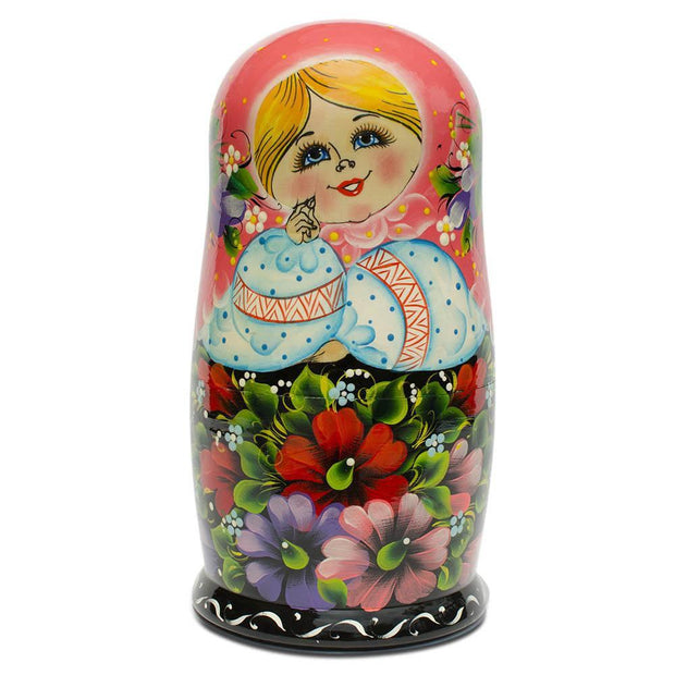 Buy Online Gift Shop 10 Girl in Pink Scarf and Embroidered Blouse Russian Nesting Dolls 11 Inches