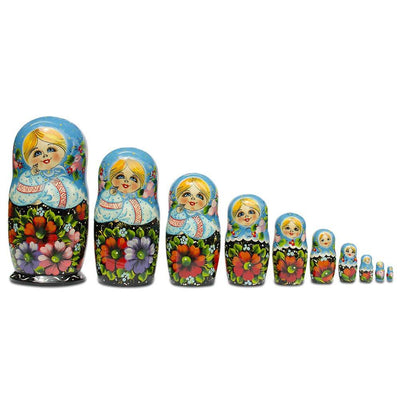 10 Girls in Blue Scarf and Embroidered Blouses Russian Nesting Dolls 11 Inches by BestPysanky