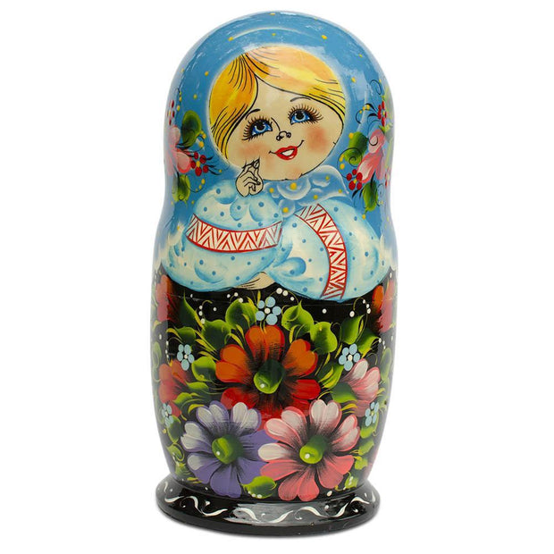 Buy Online Gift Shop 10 Girls in Blue Scarf and Embroidered Blouses Russian Nesting Dolls 11 Inches