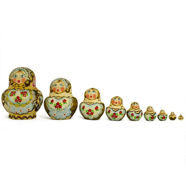 BestPysanky Nesting Dolls > Floral - 5'' Set of 10 Pyrography Wood burned Russian Nesting Dolls