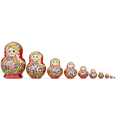 Set of 10 Red Bouquet of Flowers Matryoshka Russian Nesting Dolls 6 Inches by BestPysanky