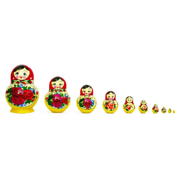 Set of 10 Bouquet of Flowers Russian Nesting Dolls 6 Inches by BestPysanky