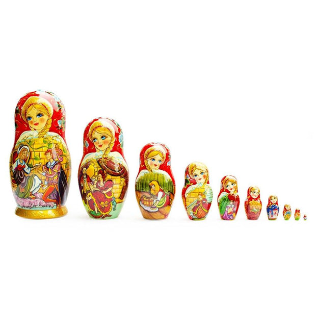 Set of 10 Cinderella Wooden Russian Nesting Dolls 10 Inches by BestPysanky